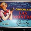 Carteles Publicitarios: CARTEL PUBLICITARIO CHOCOLATE DE LAS MONEDAS CAFES COLUMBA MADRIR MD 42 X 30 CM. Lote 54489122