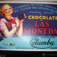 CARTEL PUBLICITARIO CHOCOLATE DE LAS MONEDAS CAFES COLUMBA MADRIR MD 42 X 30 CM