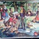 Carteles Publicitarios: CARTEL LITOGRAFIA PUBLICIDAD MATIAS LOPEZ, MADRID, UNA MERIENDA LAGARTERANA, TOLEDO. Lote 50787834