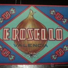Carteles Publicitarios: CARTEL PUBLICITARIO CEBOLLAS E.ROSELLÓ.VALENCIA. Lote 291038568