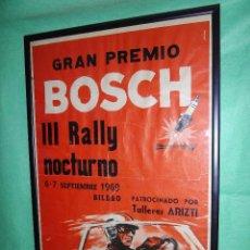Carteles Publicitarios: RARO CARTEL III RALLY NOCTURNO PREMIO BOSCH AUTOMOVILISMO BILBAO ORIGINAL 1969 CARRERA COCHE VINTAGE. Lote 51068492
