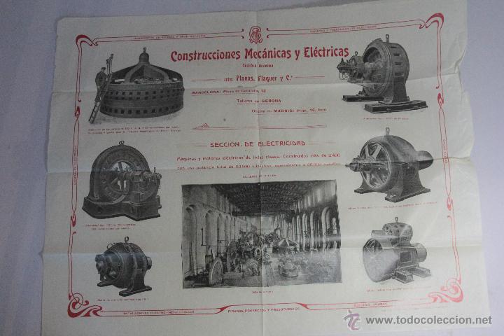 CONSTRUCCIONES MECANICAS Y ELÉCTRICAS, GRAN PUBLICIDAD, 40X50CM. GERONA -DOCE- FINALES XIX-PPXX (Coleccionismo - Carteles Gran Formato - Carteles Publicitarios)