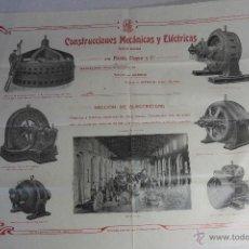 Carteles Publicitarios: CONSTRUCCIONES MECANICAS Y ELÉCTRICAS, GRAN PUBLICIDAD, 40X50CM. GERONA -DOCE- FINALES XIX-PPXX. Lote 51438693