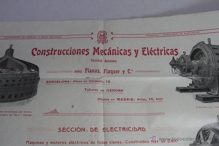 Carteles Publicitarios: CONSTRUCCIONES MECANICAS Y ELÉCTRICAS, GRAN PUBLICIDAD, 40X50CM. GERONA -doce- FINALES XIX-PPXX - Foto 2 - 51438693