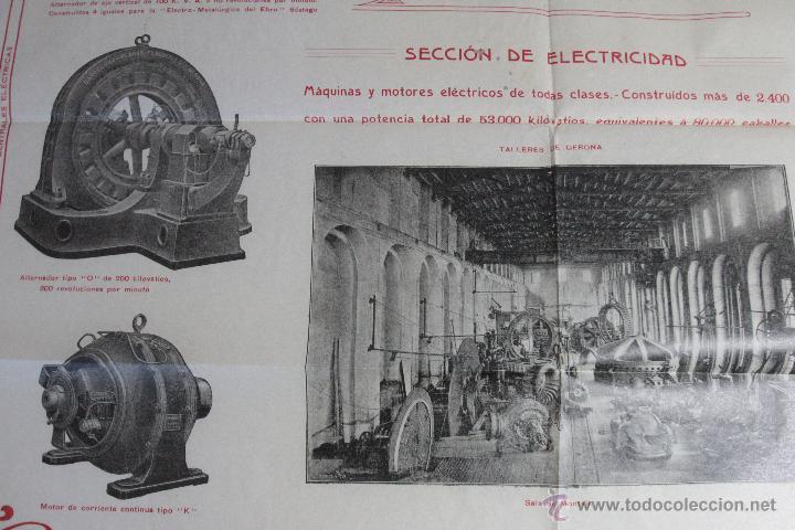 Carteles Publicitarios: CONSTRUCCIONES MECANICAS Y ELÉCTRICAS, GRAN PUBLICIDAD, 40X50CM. GERONA -doce- FINALES XIX-PPXX - Foto 3 - 51438693
