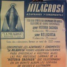 Carteles Publicitarios: AZAFRANES LA MILAGROSA, NOVELDA, CARTEL PUBLICITARIO. Lote 51811736