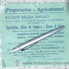 Carteles Publicitarios: CALASPARRA ALMACENES DE ROQUE BELDA PIÑERO MURCIA. Lote 52617098