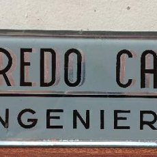 Carteles Publicitarios: CARTEL PUBLICIDAD DE CRISTAL ALFREDO CANAL INGENIERO DECORACION ART DECO VINTAGE MUESTRARIO EMPRESA. Lote 53142073
