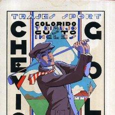 Affiches Publicitaires: CARTEL PUBLICIDAD, SERIGRAFIA, DECO, TRAJES CHEVIOT GOLF , SABADELL , ORIGINAL. Lote 53337454