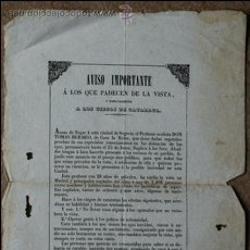 Carteles Publicitarios: CARTEL. AVISO IMPORTANTE A LOS QUE PADECEN DE LA VISTA Y ESPECIALMENTE A LOS CIEGOS DE CATARATA.. Lote 53665719