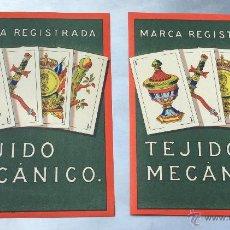 Carteles Publicitarios: 2 CARTELES PUBLICITARIOS DE TEJIDO MECANICO . Lote 54049489