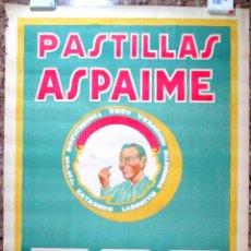 Carteles Publicitarios: CARTEL PUBLICIDAD LITOGRAFICO , PASTILLAS ASPAIME TOS , AÑOS 1940 , FALTA NEGRO. Lote 54053779