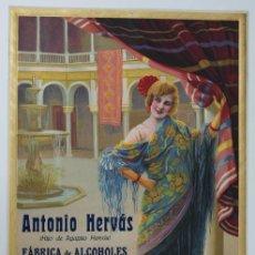 Carteles Publicitarios: PRECIOSO CARTEL TROQUELADO DE ANTONIO HERVÁS - FÁBRICA DE ALCOHOLES, ANISADOS Y LICORES - AÑO 1918. Lote 54435110