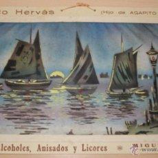 Carteles Publicitarios: PRECIOSO CARTEL TROQUELADO DE ANTONIO HERVÁS - FÁBRICA DE ALCOHOLES, ANISADOS Y LICORES - AÑO 1917. Lote 54437138