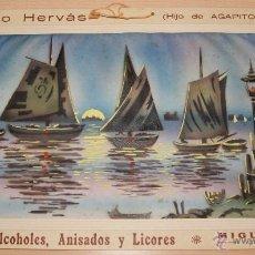 Carteles Publicitarios: PRECIOSO CARTEL TROQUELADO DE ANTONIO HERVÁS - FÁBRICA DE ALCOHOLES, ANISADOS Y LICORES - AÑO 1917. Lote 54437154