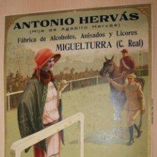 Carteles Publicitarios: PRECIOSO CARTEL TROQUELADO DE ANTONIO HERVÁS - FÁBRICA DE ALCOHOLES, ANISADOS Y LICORES - AÑO 1917. Lote 54437281