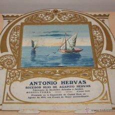 Carteles Publicitarios: PRECIOSO CARTEL TROQUELADO DE ANTONIO HERVÁS - FÁBRICA DE ALCOHOLES, ANISADOS Y LICORES - AÑO 1917. Lote 54437342
