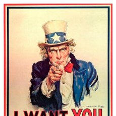 Carteles Publicitarios: I WANT YOU FOR THE U.S. ARMY. CARTEL PROPAGANDA 2ª GUERRA MUNDIAL 45 X 32 CMS.. Lote 205745606