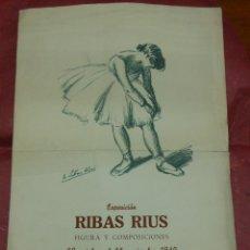 Carteles Publicitarios: 1949 CARTEL EXPOSICION DE RIBAS RIUS FIGURA Y COMPOSICIONES SALA GASPAR DE BARCELONA ARTE. Lote 55083450