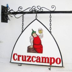 Carteles Publicitarios: ENORME CARTEL HIERRO Y PLASTICO GAMBRINUS CRUZCAMPO IDEAL BAR DECORACION O MODIFICACION. Lote 56317036