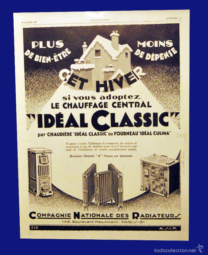 COMPAGNIE NATIONALE DES RADIATEUR - 30 X 40 CM - AÑO 1929 - LAMINA ORIGINAL DE LA REVISTA ´´ L´ILLUS (Coleccionismo - Carteles Gran Formato - Carteles Publicitarios)