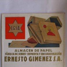Carteles Publicitarios: CARTEL DE CARTON TROQUELADO, PUBLICIDAD ERNESTO GIMENEZ, ALMACEN DE PAPEL, MEDIDAS 46,5 X 31 CM. Lote 56332270