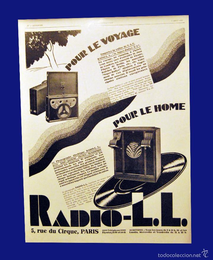 RADIO L.L. - GRABADO ORIGINAL DEL AÑO 1928 (Coleccionismo - Carteles Gran Formato - Carteles Publicitarios)