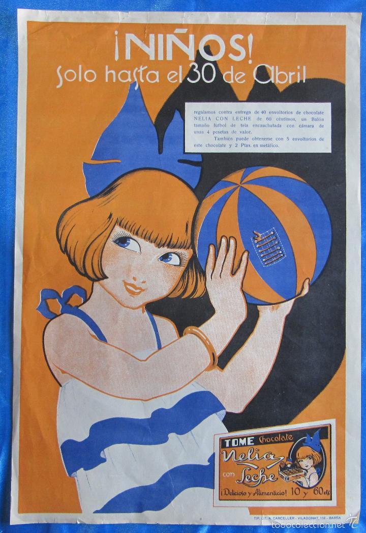 CARTEL ANUNCIO CHOCOLATES CHOCOLATE NELIA. TIP Y LIT CARCELLER. BARCELONA. 1920/30. (Coleccionismo - Carteles Gran Formato - Carteles Publicitarios)