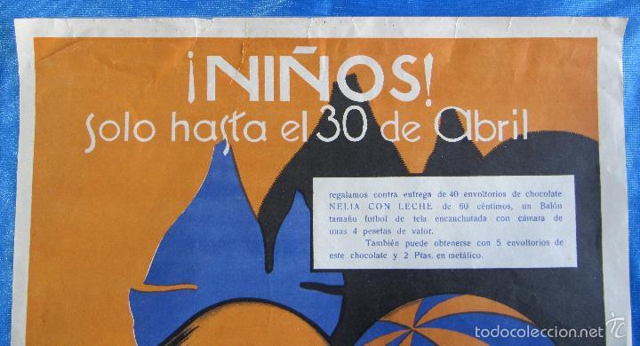 Carteles Publicitarios: CARTEL ANUNCIO CHOCOLATES CHOCOLATE NELIA. TIP Y LIT CARCELLER. BARCELONA. 1920/30. - Foto 3 - 56896254
