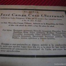 Carteles Publicitarios: ANTIGUA ESQUELA DE LANGREO. ASTURIAS . Lote 57070198