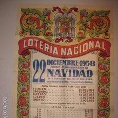 Carteles Publicitarios: CARTEL LOTERIA NACIONAL 22 DICIEMBRE 1958 -MIDE 100 X 70 CM.APROX.- VER FOTOS. Lote 57750213