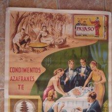 Carteles Publicitarios: NOVELDA (ALICANTE).CONDIMENTOS Y AZAFRANES DE RICARDO PENALVA, MARCAS PAYASO Y LA PAGODA.. Lote 59717215