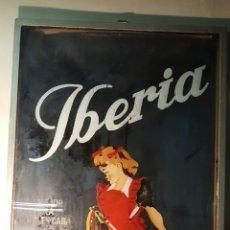 Carteles Publicitarios: ANTIGUO CARTEL, TINTES IBERIA, 1940S, PINTADO SOBRE CRISTAL. ÚNICO! PIEZA DE MUSEO 76X124CM. Lote 61365071