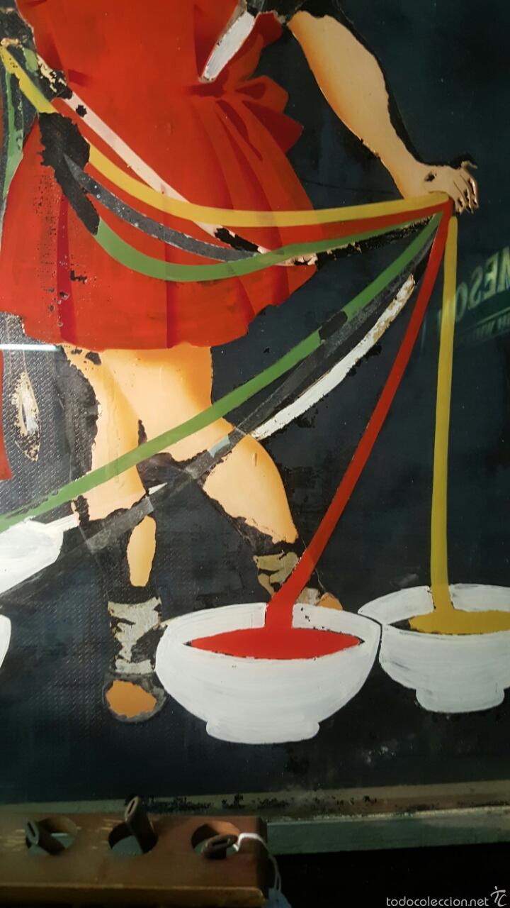 Carteles Publicitarios: Antiguo cartel, tintes iberia, 1940s, pintado sobre cristal. Único! Pieza de museo 76x124cm - Foto 3 - 61365071