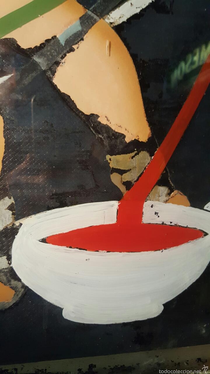 Carteles Publicitarios: Antiguo cartel, tintes iberia, 1940s, pintado sobre cristal. Único! Pieza de museo 76x124cm - Foto 4 - 61365071