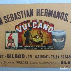Carteles Publicitarios: CARTEL DE CARTON PUBLICIDAD CRISOLES VULCANO, SAN SEBASTIAN HERMANOS, S.A., ZORROZA - BILBAO. Lote 62133448