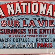 Carteles Publicitarios: LA NATIONALE, ASSURANCES VIE ENTIERE. Lote 62223812