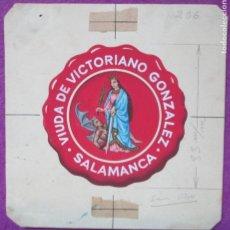 Carteles Publicitarios: ETIQUETA ORIGINAL, PINTADA A MANO, PUBLICIDAD, PINTURA, CHOCOLATE, SALAMANCA, E29. Lote 66778218