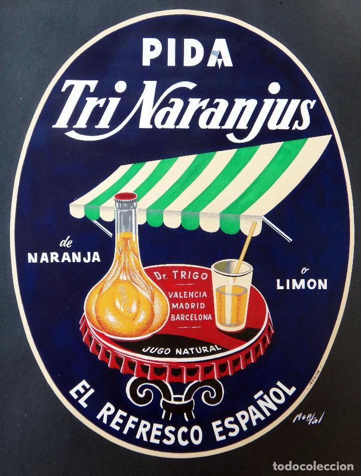 Cartel pintura original publicidad tri naranju comprar carteles antiguos publicitarios en - Carteles publicitarios antiguos ...