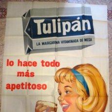 Carteles Publicitarios: IMPRESIONANTE CARTEL PUBLICIDAD, MARGARINA TULIPAN , NIÑA , MUY GRANDE , ORIGINAL. Lote 67303369