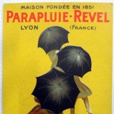Affissi Pubblicitari: PEQUEÑO CARTEL PUBLICIDAD PARAGUAS, PARAPLUIE REVEL , CAPPIELLO , FRANCIA , ORIGINAL, RB. Lote 121503334