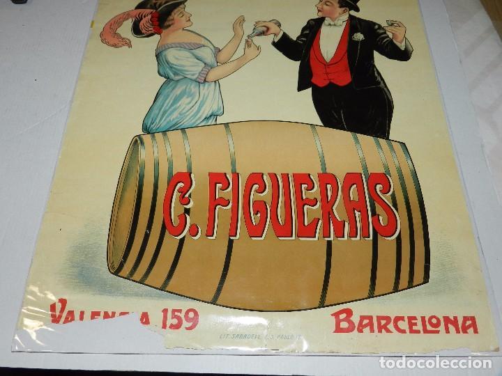 Carteles Publicitarios: (M) CARTEL ORIGINAL - FABRICA DE ANISADOS Y LICORES C FIGUERAS , BARCELONA, LIT. SABADELL - Foto 2 - 69237225