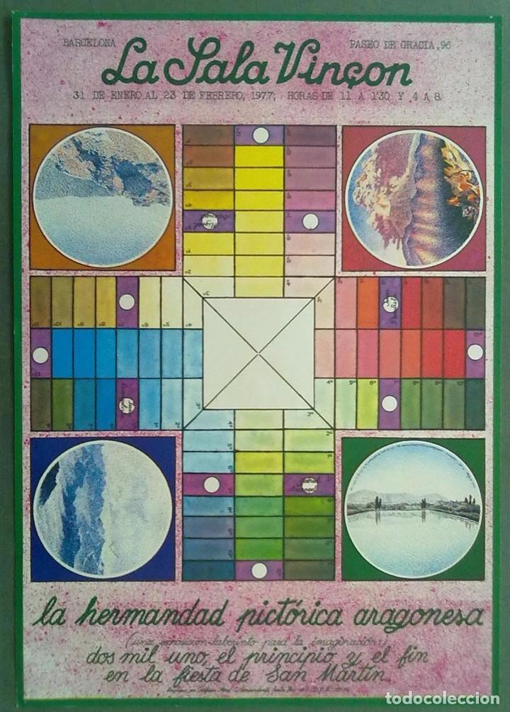 LA SALA VINÇON BARCELONA 1977 LA HERMANDAD PICTORICA ARAGONESA 31 X 44 CM (APROX) (Coleccionismo - Carteles Gran Formato - Carteles Publicitarios)