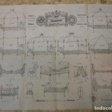 Carteles Publicitarios: SIGLO XIX CARTEL MUESTRARIO CATALOGO FABRICA CAMAS MUEBLES DE HIERRO FORJA DE SEVILLA H. DUBUISSON. Lote 73204351