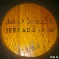 Carteles Publicitarios: TAPA DE TONEL PUBLICITARIA HIJOS DE A.GUTIEREZ. DECORACIÓN BAR.. Lote 74914151