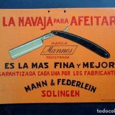 Carteles Publicitarios: ANTIGUO CARTEL DE PUBLICIDAD DE NAVAJA DE AFEITAR MANNOS – FILARMONICA – BARCELONA 32 X 23 CM.. Lote 75928639