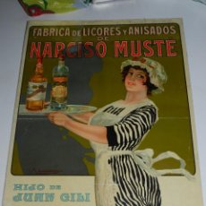 Carteles Publicitarios: CARTEL FABRICA DE LICORES Y ANISADOS DE NARCISO MUSTE , HIJO DE JUAN GILI , REUS. Lote 77182001