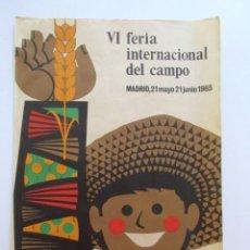 Carteles Publicitarios: CARTEL GRAN FORMATO, LITOGRAFÍA, FERIA INTERNACIONAL DEL CAMPO, AÑO 1965. Lote 80010493