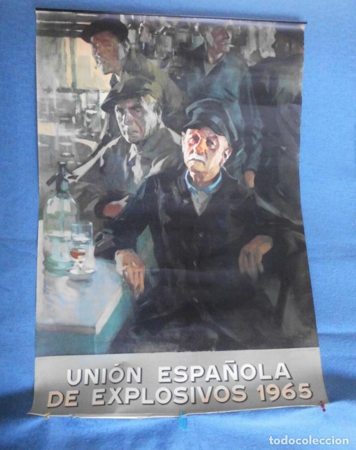 CARTEL DE CALENDARIO UNIÓN ESPAÑOLA DE EXPLOSIVOS 1965, ILUSTRADO POR JOSÉ BARDASANO, EN LA TABERNA (Coleccionismo - Carteles Gran Formato - Carteles Publicitarios)