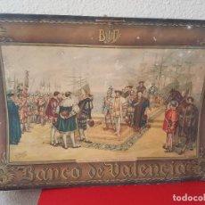 Carteles Publicitarios: CARTEL PUBLICITARIO ALMANAQUE BANCO DE VALENCIA PINAZO DESEMBARCO FRANCISCO I LITOGRAFIA DURA 1952. Lote 45579264